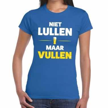 Toppers - niet lullen maar vullen tekst t-shirt blauw damescarnavalsk