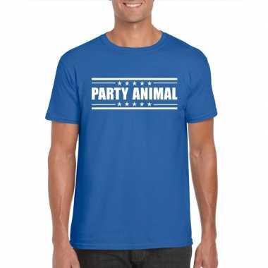 Toppers - party animal t-shirt blauw herencarnavalskleding