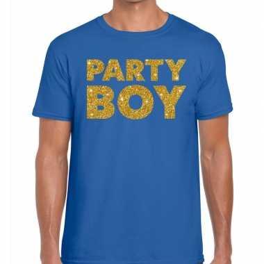 Toppers - party boy glitter tekst t-shirt blauw herencarnavalskleding