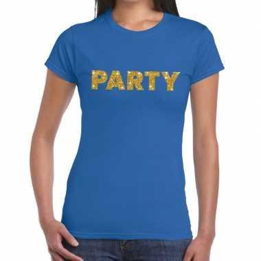 Toppers - party goud glitter tekst t-shirt blauw damescarnavalskledin