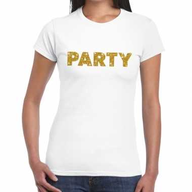 Toppers - party goud glitter tekst t-shirt wit damescarnavalskleding