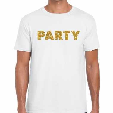 Toppers - party goud glitter tekst t-shirt wit herencarnavalskleding