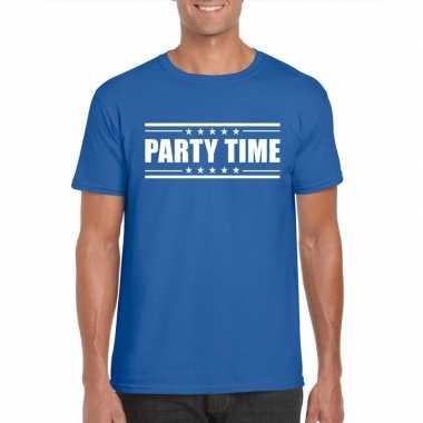 Toppers - party time t-shirt blauw herencarnavalskleding