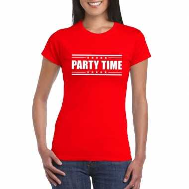 Toppers - party time t-shirt rood damescarnavalskleding