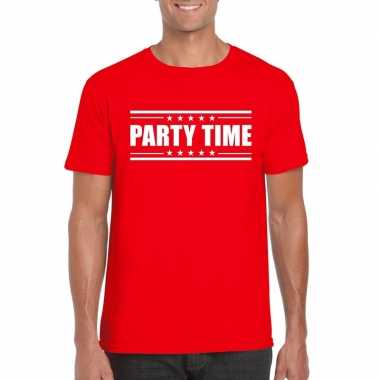 Toppers - party time t-shirt rood herencarnavalskleding