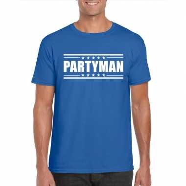 Toppers - partyman t-shirt blauw herencarnavalskleding