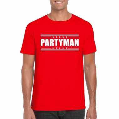 Toppers - partyman t-shirt rood herencarnavalskleding