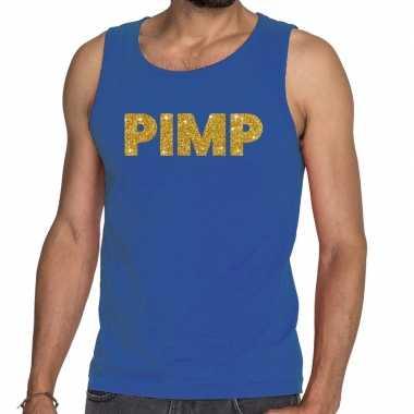 Toppers - pimp glitter tanktop / mouwloos shirt blauw herencarnavalsk