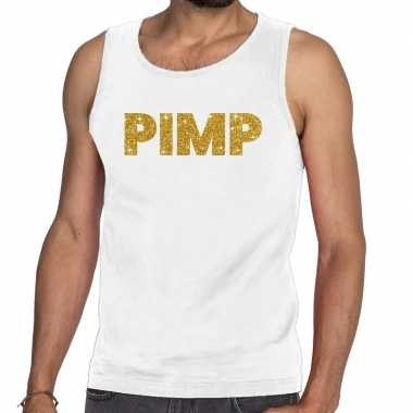Toppers - pimp glitter tanktop / mouwloos shirt wit herencarnavalskle