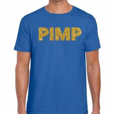 Toppers - pimp glitter tekst t-shirt blauw herencarnavalskleding