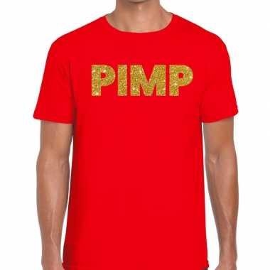 Toppers - pimp glitter tekst t-shirt rood herencarnavalskleding