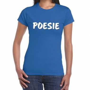 Toppers - poesie fun tekst t-shirt blauw damescarnavalskleding