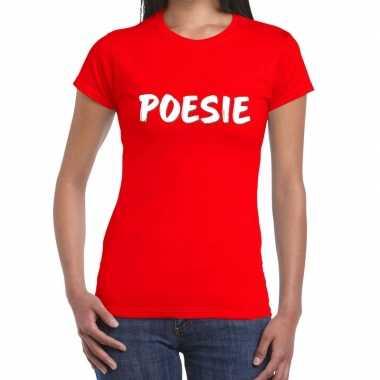 Toppers - poesie fun tekst t-shirt rood damescarnavalskleding