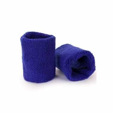 Toppers - pols zweetbandjes blauw voor volwassenen 2 stukscarnavalskl