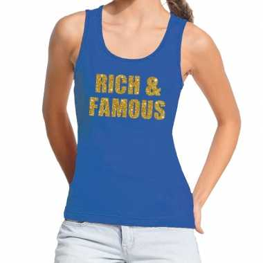 Toppers - rich and famous glitter tanktop / mouwloos shirt blauw dame