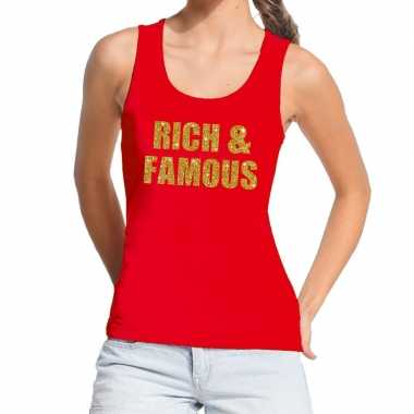 Toppers - rich and famous glitter tanktop / mouwloos shirt rood dames