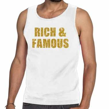 Toppers - rich and famous glitter tanktop / mouwloos shirt wit herenc