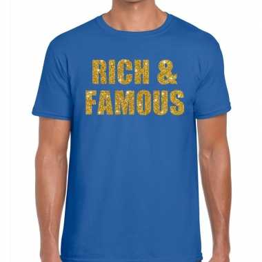 Toppers - rich and famous glitter tekst t-shirt blauw herencarnavalsk