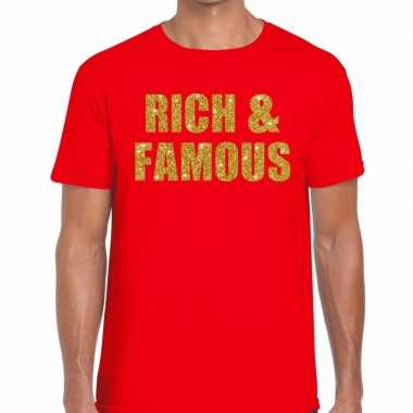 Toppers - rich and famous glitter tekst t-shirt rood herencarnavalskl