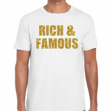 Toppers - rich and famous glitter tekst t-shirt wit herencarnavalskle