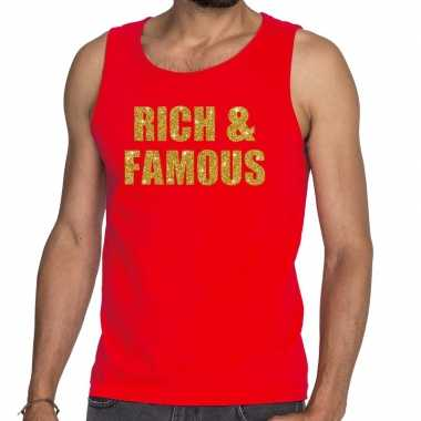 Toppers - rich and famous glitter tekst tanktop / mouwloos shirt rood