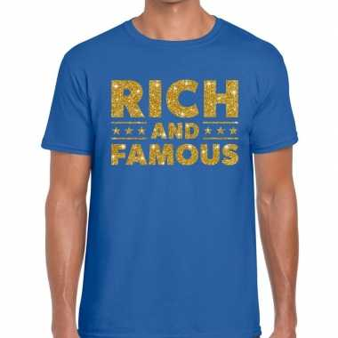 Toppers - rich and famous goud glitter tekst t-shirt blauw herencarna