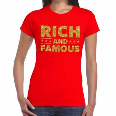 Toppers - rich and famous goud glitter tekst t-shirt rood damescarnav