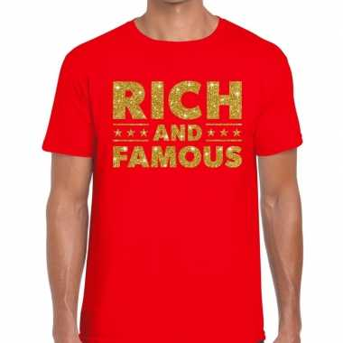 Toppers - rich and famous goud glitter tekst t-shirt rood herencarnav