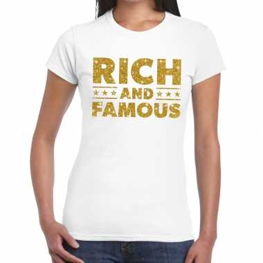 Toppers - rich and famous goud glitter tekst t-shirt wit damescarnava