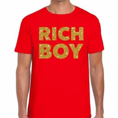 Toppers - rich boy goud glitter tekst t-shirt rood herencarnavalskled