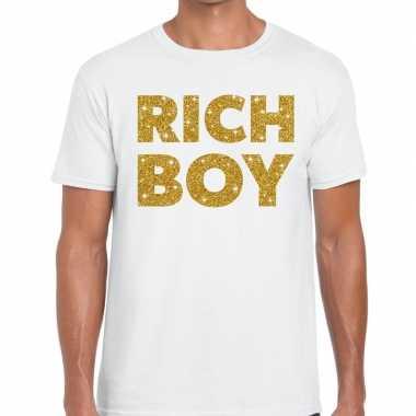 Toppers - rich boy goud glitter tekst t-shirt wit herencarnavalskledi