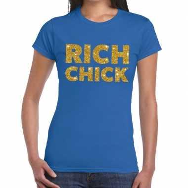 Toppers - rich chick goud glitter tekst t-shirt blauw damescarnavalsk