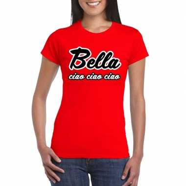 Toppers - rood bella ciao t-shirt voor damescarnavalskleding