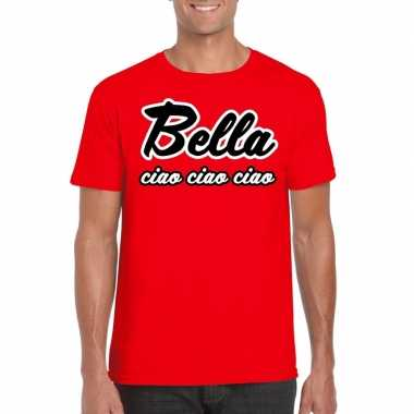 Toppers - rood bella ciao t-shirt voor herencarnavalskleding