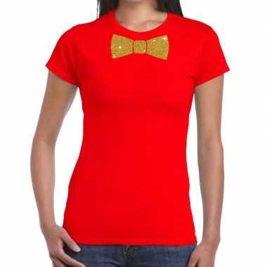 Toppers - rood fun t-shirt met vlinderdas in glitter goud damescarnav