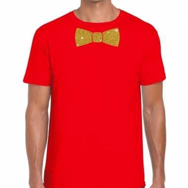 Toppers - rood fun t-shirt met vlinderdas in glitter goud herencarnav