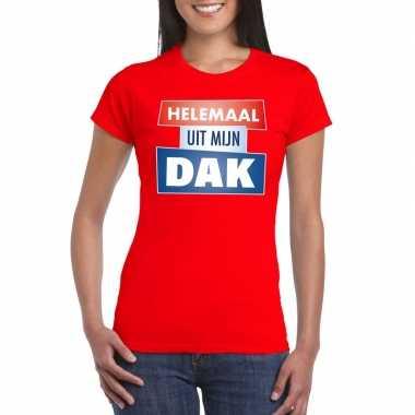 Toppers - rood helemaal uit mijn dak t-shirt damescarnavalskleding