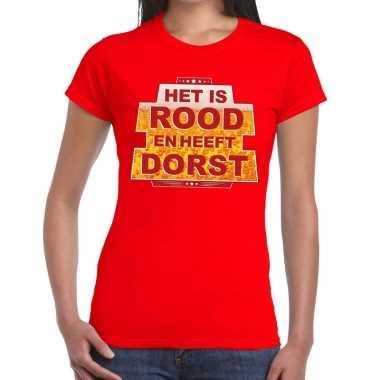 Toppers - rood het is rood en heeft dorst t-shirt damescarnavalskledi