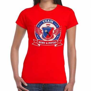 Toppers - rood kort en pittig team t-shirt damescarnavalskleding