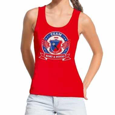 Toppers - rood kort en pittig team tanktop / mouwloos shirt damecarna