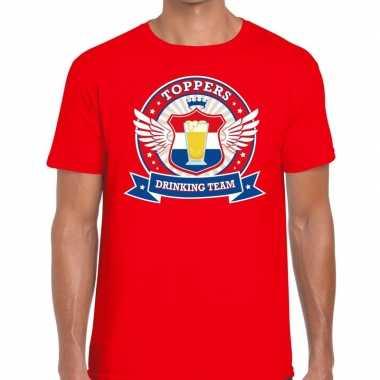 Toppers - rood toppers drinking team t-shirt herencarnavalskleding
