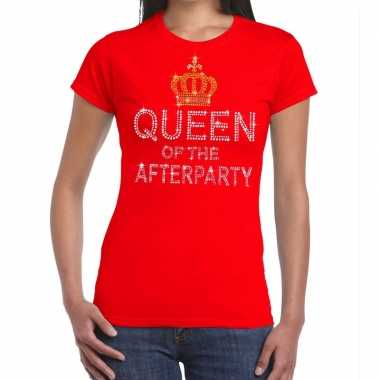 Toppers - rood toppers queen of the afterparty glitter t-shirt damesc