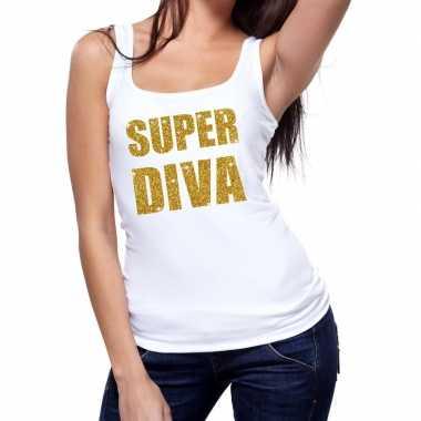 Toppers - super diva glitter tanktop / mouwloos shirt wit damescarnav
