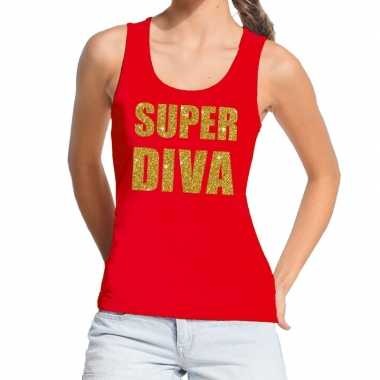 Toppers - super diva glitter tekst tanktop / mouwloos shirt rood dame