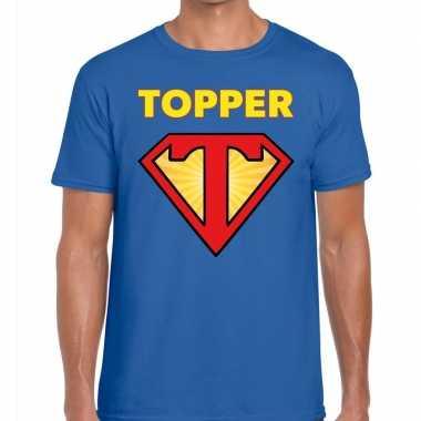 Toppers - super topper logo t- shirt blauw herencarnavalskleding