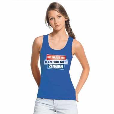 Toppers - tanktop / mouwloos kan ook niet zingen shirt blauw damescar