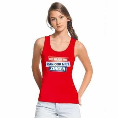 Toppers - tanktop / mouwloos kan ook niet zingen shirt rood damescarn