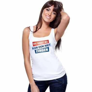 Toppers - tanktop / mouwloos kan ook niet zingen shirt wit damescarna