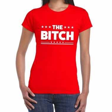Toppers - the bitch fun tekst t-shirt rood damescarnavalskleding