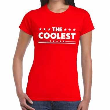 Toppers - the coolest tekst t-shirt rood damescarnavalskleding